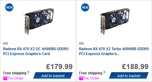 Видеокарты HIS Radeon RX 470 X2 Turbo/X2 OC