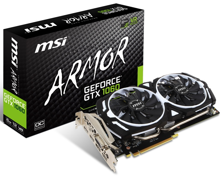 Видеокарта MSI GeForce GTX 1060 Armor 6G OCV1