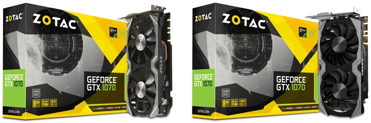 Видеокарты ZOTAC GeForce GTX 1070 Mini