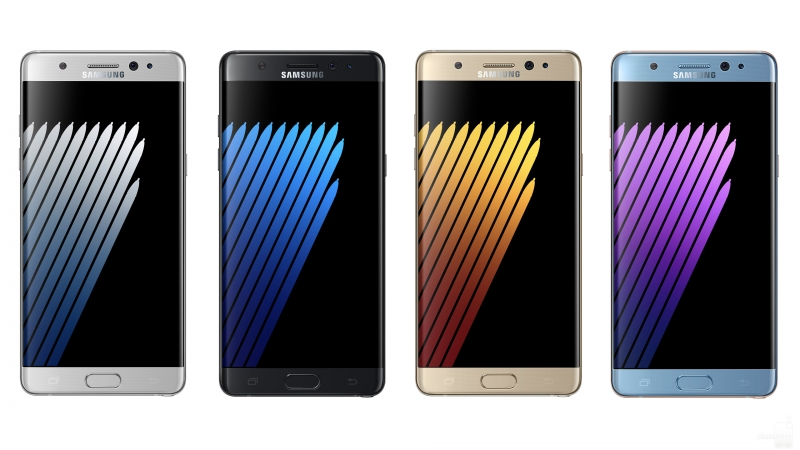 Samsung Galaxy Note 7 в разных цветах, официальное фото