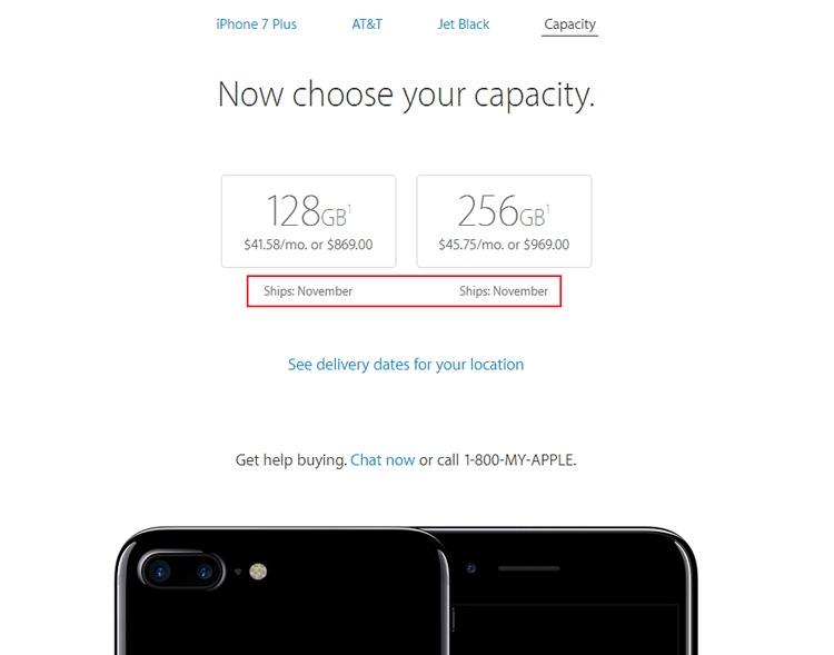 Даже в США поставки iPhone 7 Plus в цвете чёрный оникс ожидаются только в ноябре