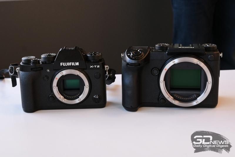 Fujifilm GFX 50S рядом с Fujifilm X-T2