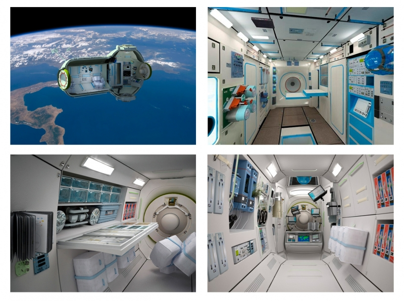 Интерьеры коммерческой космической станции. Графика компании «Орбитальные технологии»