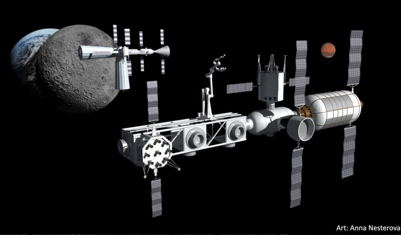 Коммерческая орбитальная инфраструктура в представлении художника. На заднем плане – орбитальная заправка передаёт топливо кораблю, отправляющемуся на Марс. Графика с сайта