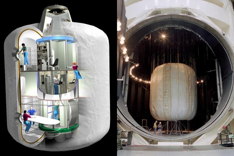 Устройство TransHab в представлении художника (слева) и тестовый экземпляр модуля в тепловакуумной камере Космического центра имени Джонсона (NASA). Графика с сайта