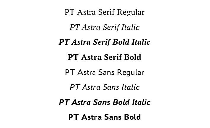 Отечественные шрифты PT Astra Serif и PT Astra Sans являются метрическими аналогами Times New Roman