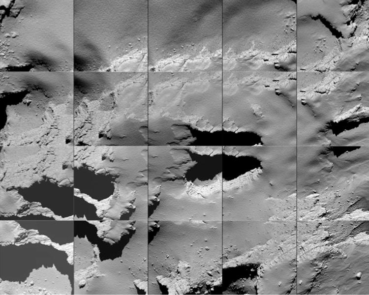 Снимки кометы, сделанные во время спуска станции