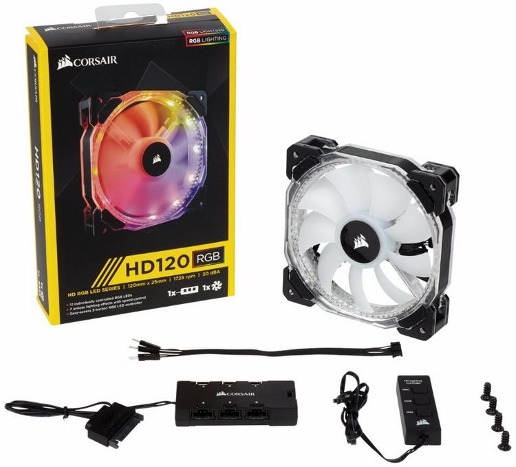 Corsair HD120 RGB: вентилятор, хаб и контроллер
