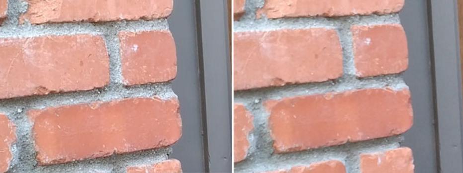 Сравнение дневной фотографии в режиме Clear Sight (слева) и обычном — увеличенные блоки изображений
