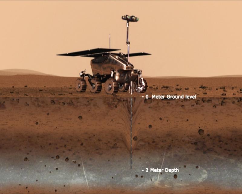 Так, по мнению художника, мог выглядеть ровер Pasteur в момент взятия пробы марсианского грунта с глубины 2 м. Графика ЕКА