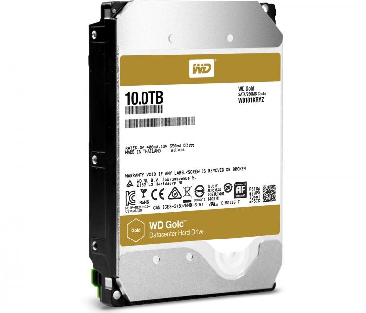 Заполненный гелием жёсткий диск WD Gold 10 Тбайт