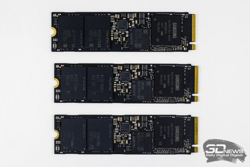 Samsung 960 EVO 250 Гбайт, 500 Гбайт и 1 Тбайт (снизу вверх)