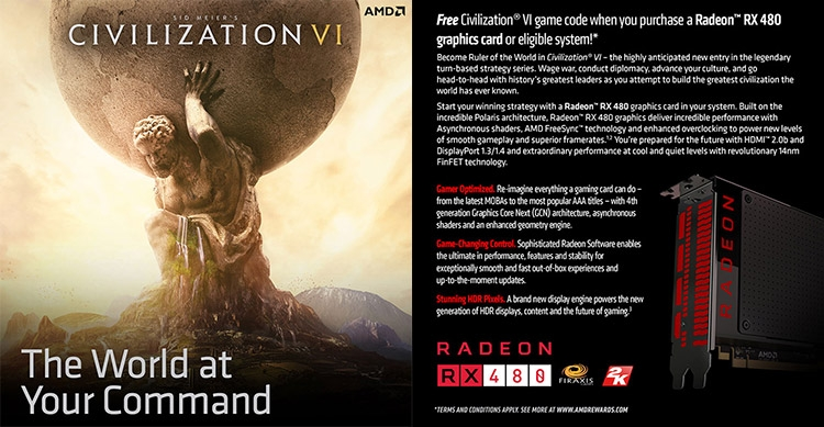 Акция Radeon RX 480 Civilization VI
