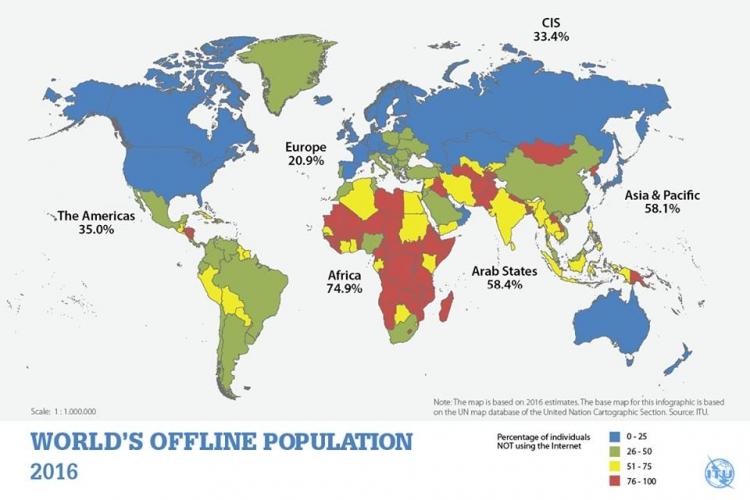 Офлайн-население Земли в 2016 году