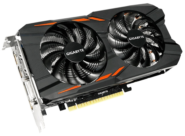 Видеокарта GeForce GTX 1050 Ti WindForce 4G (GV-N105TWF2-4GD)