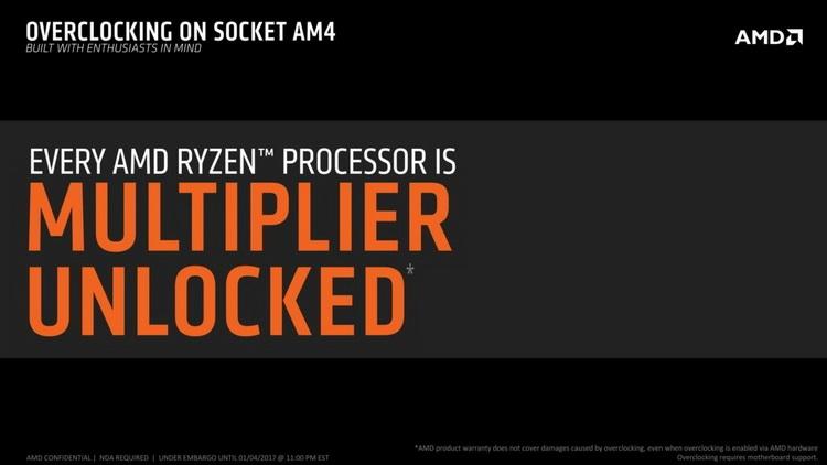 Любой процессор Ryzen получит возможность разгона путём увеличения множителя