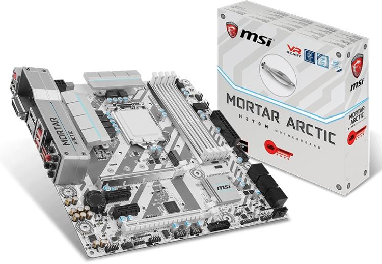Плата MSI H270M Mortar Arctic получила белоснежную окраску