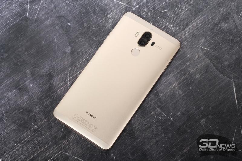 Huawei Mate 9, задняя панель: двойная камера, двойная же светодиодная вспышка, лазер автофокуса и сканер отпечатков пальцев