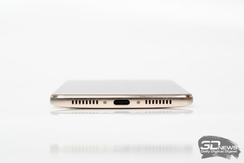 Huawei Mate 9, нижняя грань: порт USB Type-C и динамик, спрятанный под правую от разъема решетку