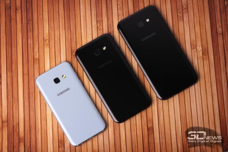 Samsung A-series, тыльная панель: объектив основной камеры и светодиодная вспышка
