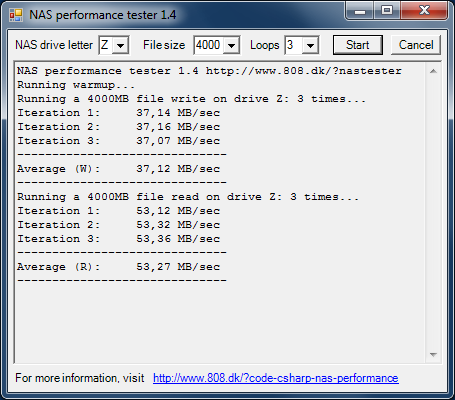 Производительность Synology DS416j с дисковым массивом уровня RAID 0