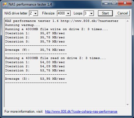 Производительность Synology DS416j с дисковым массивом уровня RAID 1