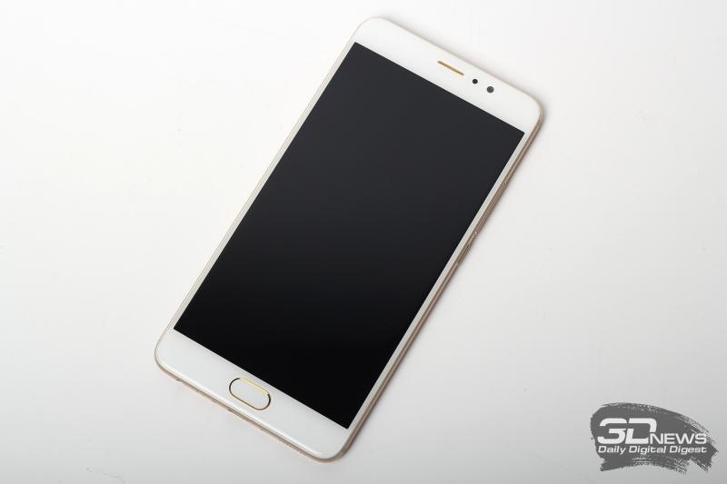 Meizu Pro 6 Plus, фронтальная панель: под экраном кнопка «Домой» со сканером отпечатков пальцев, над экраном – разговорный динамик, фронтальная камера и датчик освещенности