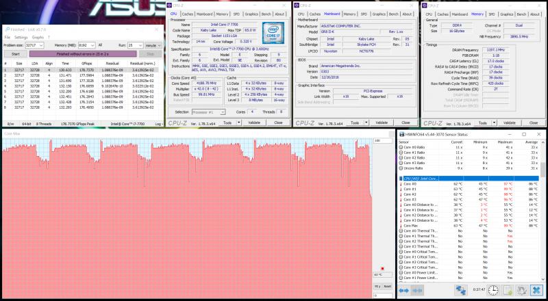 Нагрев центрального процессора в LinX 0.7.0