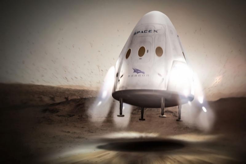 Вертикальная реактивная посадка корабля Red Dragon на Марс. Графика SpaceX