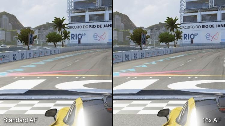 Сравнение Forza Motorsport 6 Apex для ПК с обычной анизотропной фильтрацией слева и полноценной 16x AF справа — разница весьма заметна, хотя разрешение одинаковое