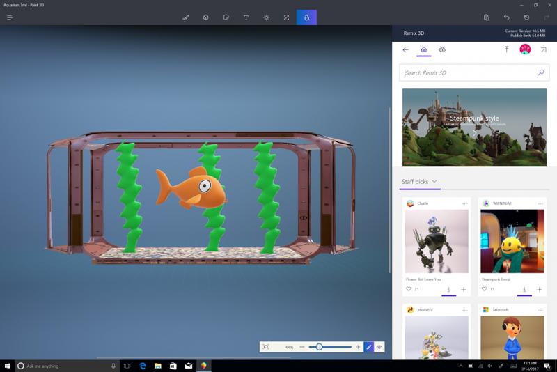 ...и делиться законченными работами в интернет-сообществе Remix 3D