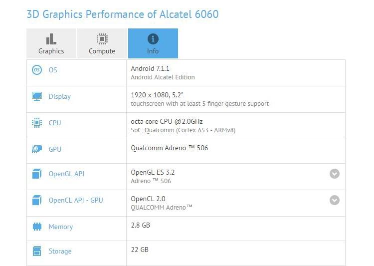 Раскрыты характеристики телефона Alcatel Idol 5 среднего уровня