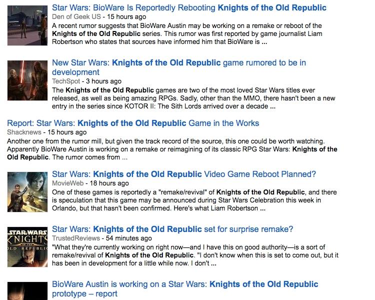 """Слухи о возрождении Star Wars: Knights of the Old Republic назвали ошибочными"""""""