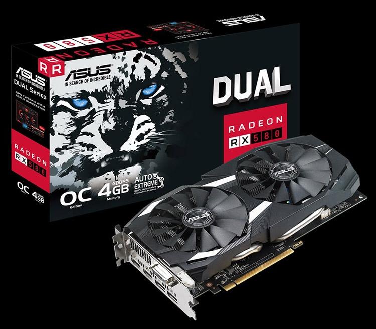 Видеокарта ASUS Dual Radeon RX 580 OC 4GB (DUAL-RX580-O4G)