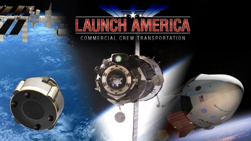 Сейчас экипажи на МКС доставляет «Союз МС», в ближайшем будущем к нему присоединятся CST-100 и Dragon V2. Обратим внимание на слоган. Коллаж NASA