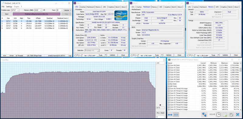Проверка разгона на стабильность в LinX 0.7.0