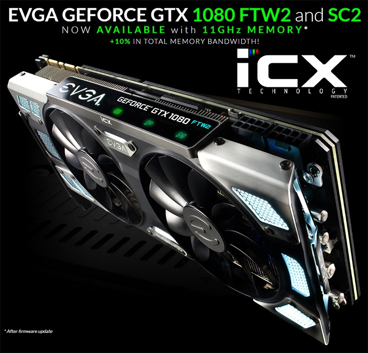 Для карт EVGA GeForce GTX 1080 iCX вышли новые BIOS с частотой памяти 11 ГГц