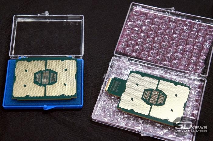 Процессоры Intel Xeon Phi Knights Landing: с шиной Omni-Path (справа) и без неё