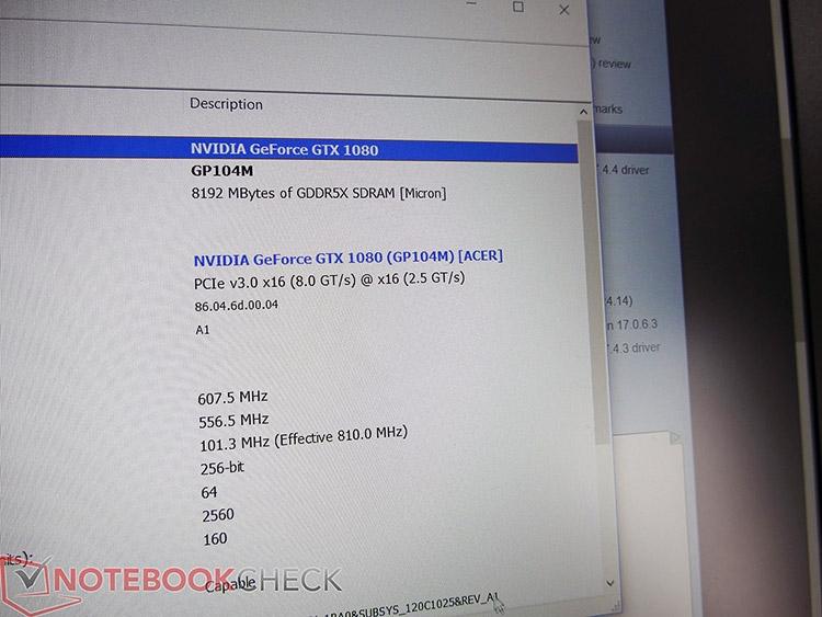 Окно Панели управления NVIDIA с характеристиками GeForce GTX 1080 Max-Q