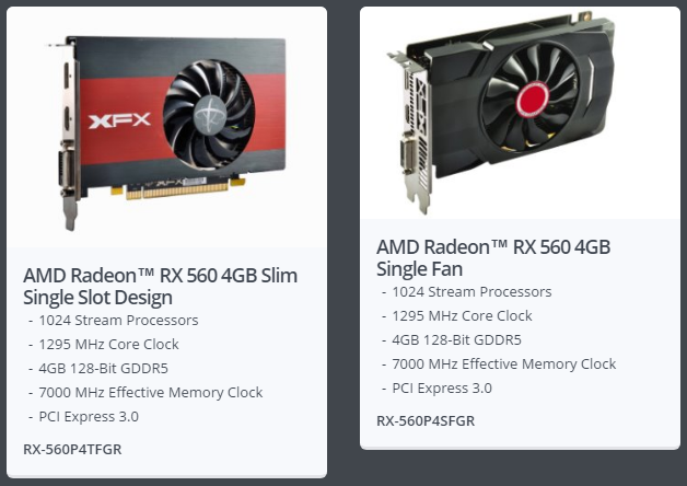 XFX Radeon RX 560 Slim Single Slot Design