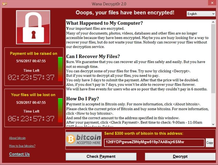 Окно шифровальщика-вымогателя WannaCry