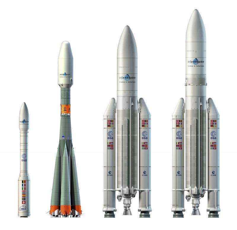 Сравнить размеры ракет-носителей Vega, «Союз-STB», Ariane-5GS и Ariane-5SA можно на этом рисунке. Графика Arianespace