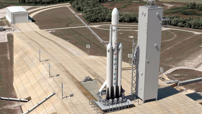 Подготовка к пуску тяжёлого носителя Falcon Heavy. Графика SpaceX