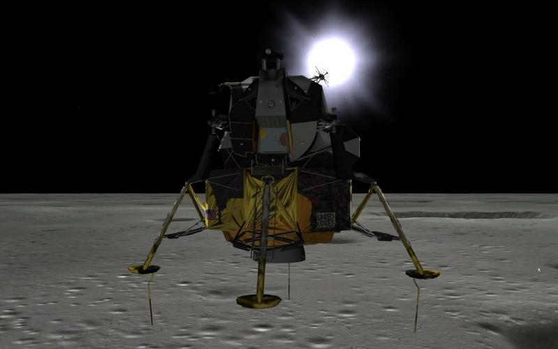 Лунный модуль LM корабля Apollo незадолго до мягкой посадки на Луну. Графика с сайта  HYPERLINK