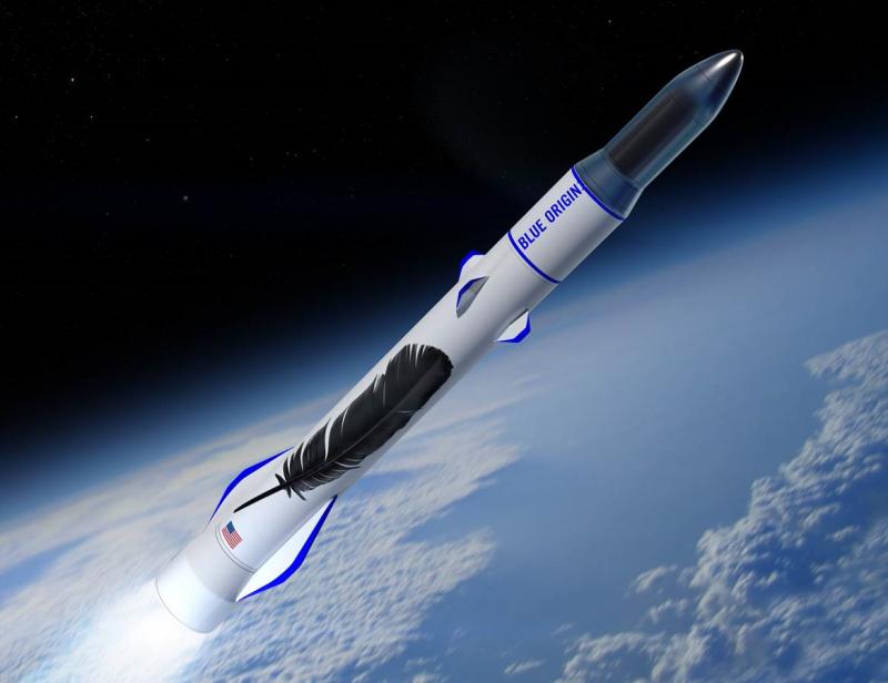 В полёте — двухступенчатый вариант носителя тяжёлого класса New Glenn. Графика Blue Origin.