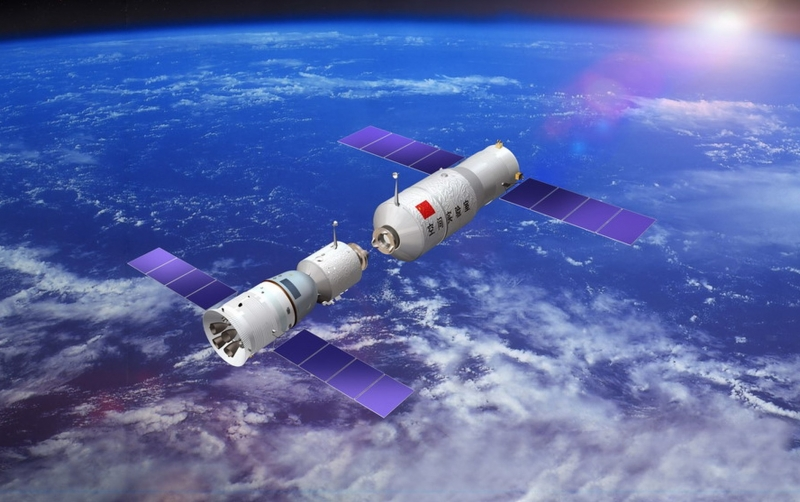 Стыковка корабля «Шэньчжоу» с лабораторией «Тяньгун». Графика China Manned Space Engineering Office