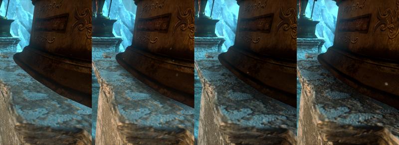 Режимы преграждения окружающего света в Rise of the Tomb Raider (слева направо): выключено, включено, HBAO+, VXAO