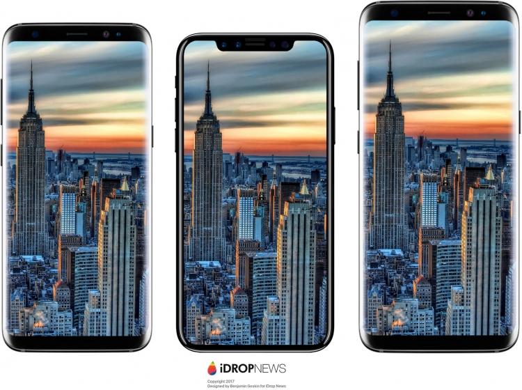 Сравнение размеров Samsung Galaxy S8, iPhone 8 и Samsung Galaxy S8+