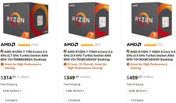 Пример новых цен на Newegg.com