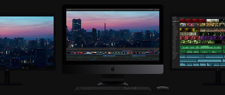 new 2017 imac three monitors dark grey - Apple представила обновлённые iMac и рабочую станцию iMac Pro